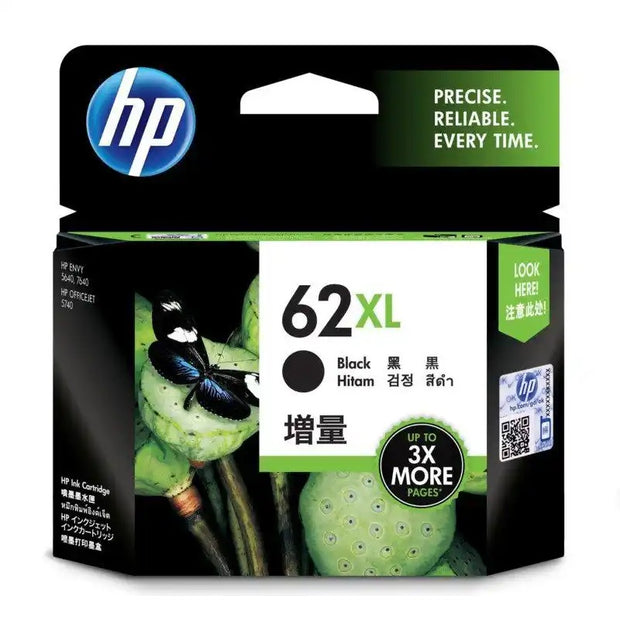 HP 62XL (High Yield) Black Ink Cartridge (C2P05AA)
