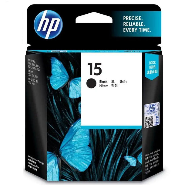 HP 15 Black Ink Cartridge (C6615DA)