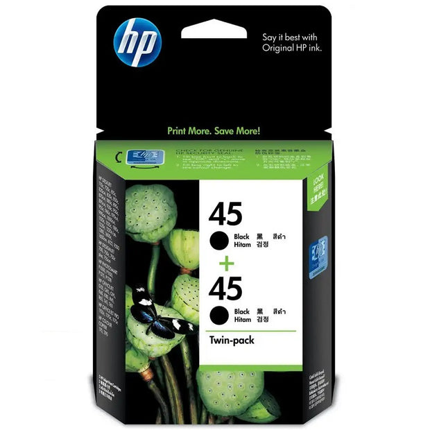 HP 45 Black Inkjet Cartridge Twin Pack (CC625AA)