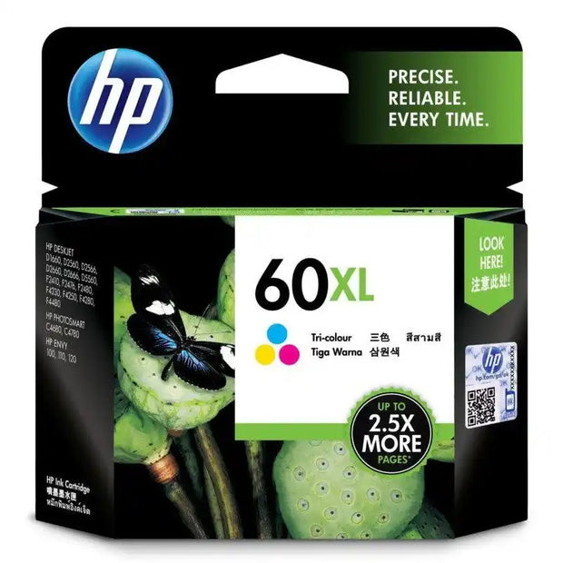 HP 60XL (High Yield) Tri-Color Ink Cartridge (CC644WA)