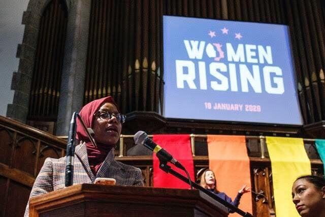 Cjala Surrat speaking at Women's March 2020 in Syracuse, NY