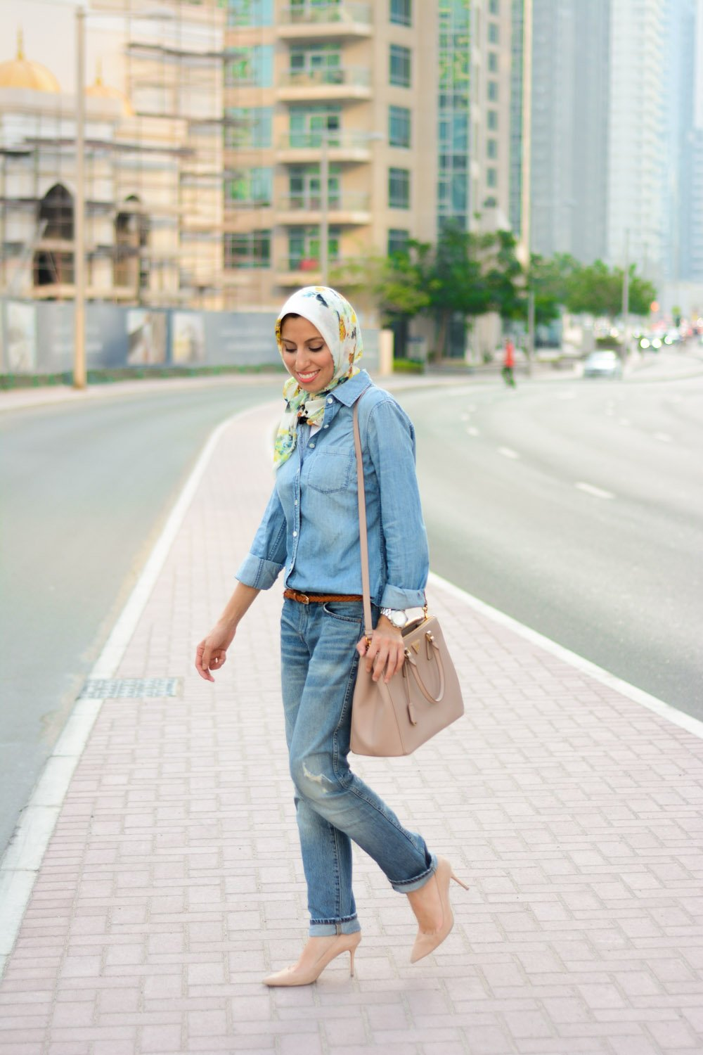 Denim on Denim Neutral Accessories Hijab Style