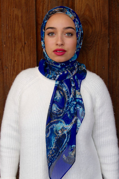 Blue Ocean Floor It Girl Hoda Scarf Hijab Wrap