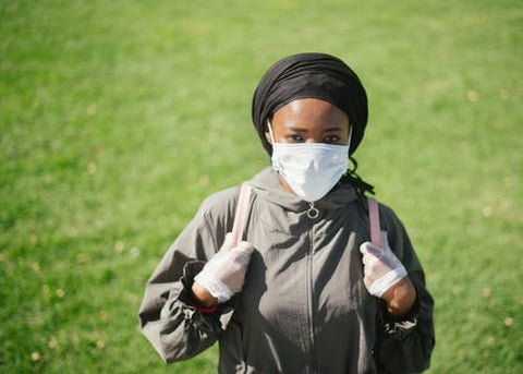 Muslim woman wearing medical mask