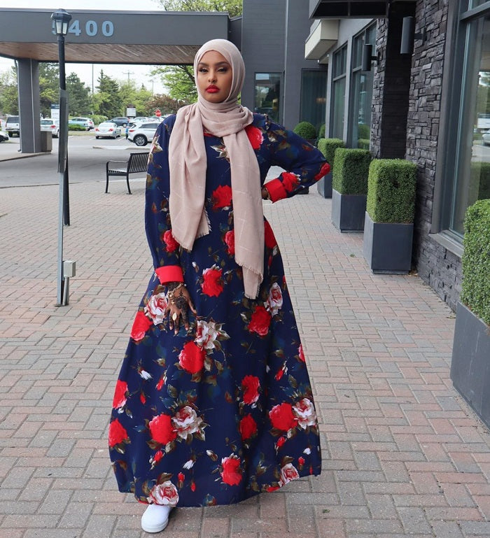 Blue and red floral maxi