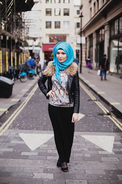 Nabiila posing on a London street