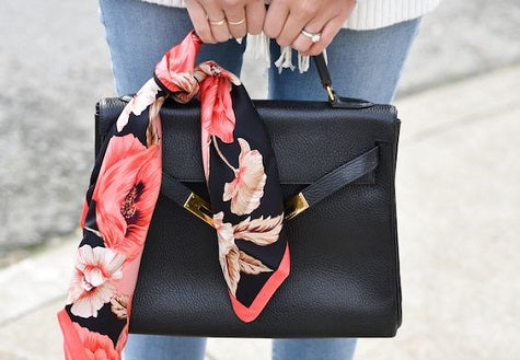 Scarf tied on purse