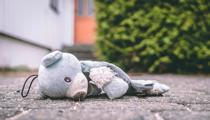 stuffed bear lying on pavement
