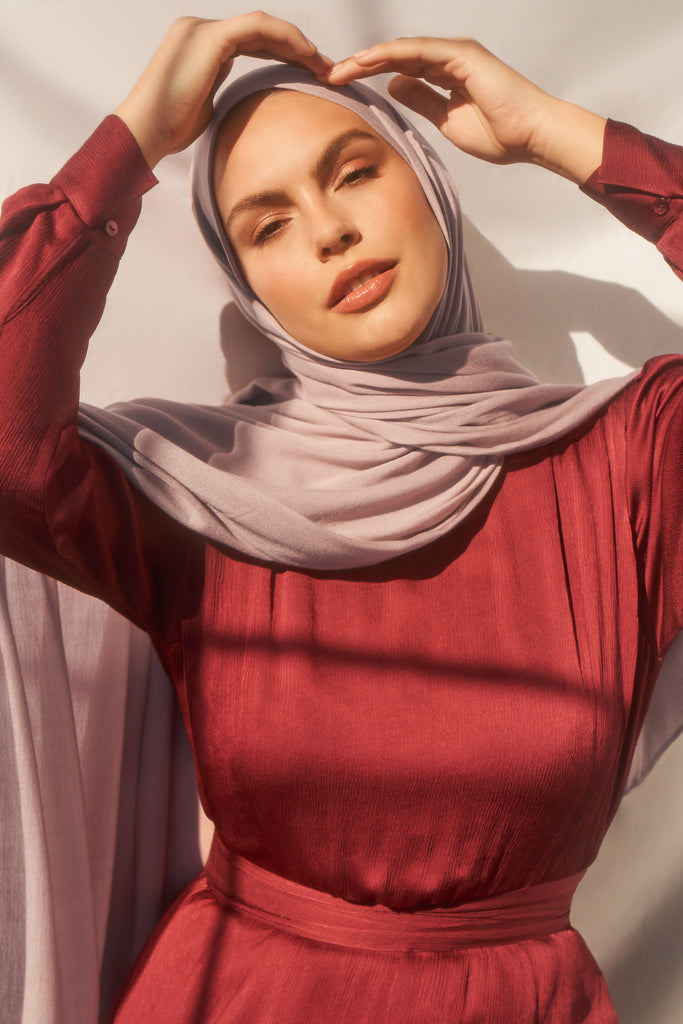 Bamboo Woven Hijab - Dusty Lavender