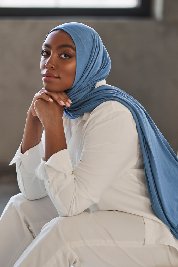 Premium Jersey Hijab - French Blue