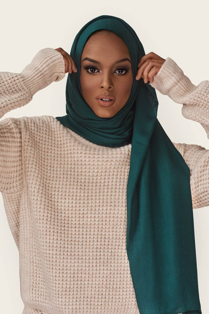 Lightweight Woven Hijab - Evergreen