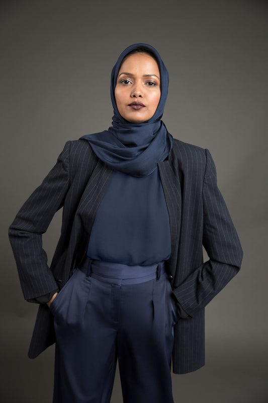 Essential Silk Hijab - Royal Navy