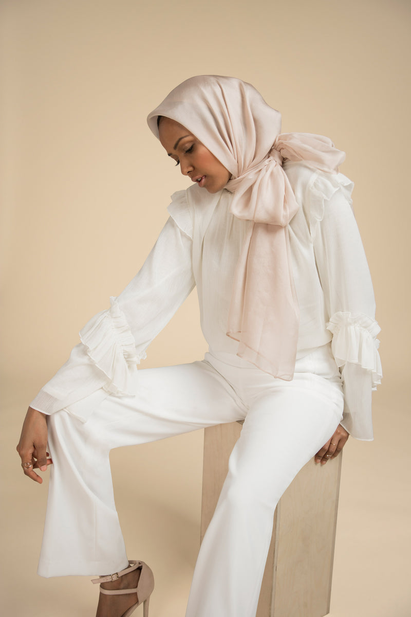 Essential Silk Hijab - Pearl Dust