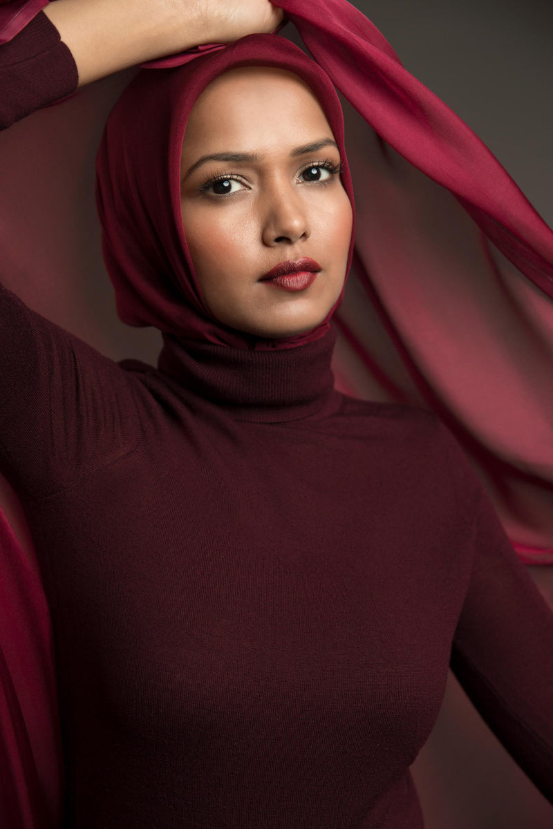 Essential Silk Hijab - Bordeaux