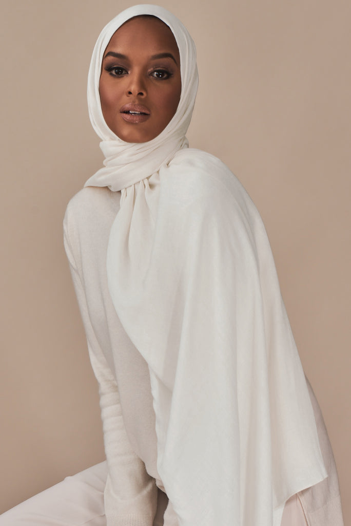 Lightweight Woven Hijab - White