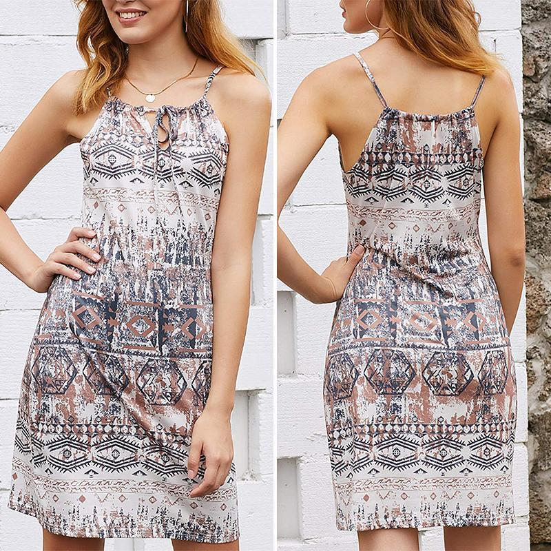 Womens Casual Print Sleeveless Short Sundress
