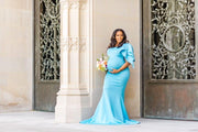 Light Blue Maternity Gown for Photo Shoot and Baby Showers - Tulip Maternity Dress