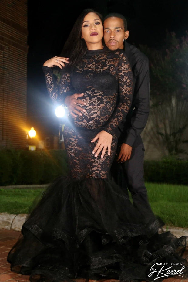 Black Lace Maternity Gown for Photo Shoot and Baby Showers - Rose Maternity Dress