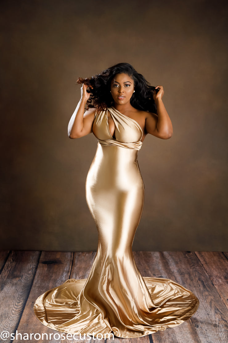 Oscar Bronze Satin Engagement Gown Perfect for Photo Shoots
