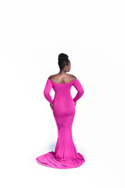 Raspberry Pink Long Sleeve Maternity Gown - Maternity Gown for Photo Shoot and Baby Showers