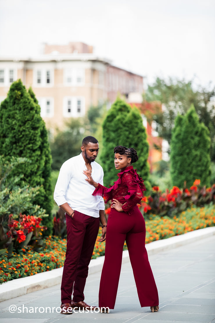 Burgundy Engagement Jumpsuit for Photo shoots and Special Occasions