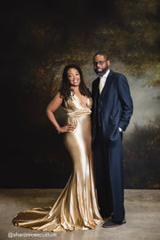 Oscar Champagne Gold Satin Engagement Gown Perfect for Photo Shoots