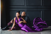 Oscar Purple Satin Maternity Gown for Photo Shoot and Baby Showers