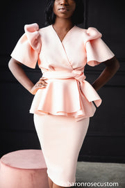 Blush Pink Short Dress Perfect for Photo shoots and Special Occasions - The Stunter Engagement Dress