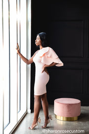 Blush Pink Short Gown Perfect for Photo shoots and Special Occasions - Tulip Engagement Dress