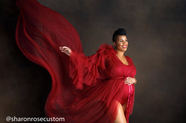 The Burgundy Honesty Ruffled One Sleeve Robe Perfect for Photo Shoots and Baby Showers