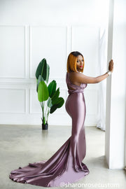 Oscar Mauve Satin Engagement Gown Perfect for Photo Shoots