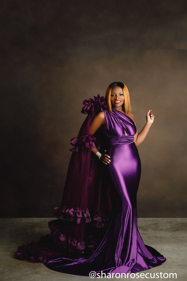 Oscar Purple Satin Engagement Gown with Victorious Cape Perfect for Photo Shoots