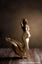 Oscar Bronze Satin Maternity Gown for Photo Shoot and Baby Showers