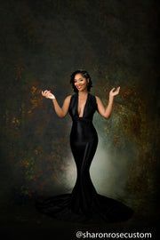 Oscar Black Satin Engagement Gown Perfect for Photo Shoots