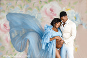 The Baby Blue Honesty Ruffled One Sleeve Robe Perfect for Photo Shoots and Baby Showers