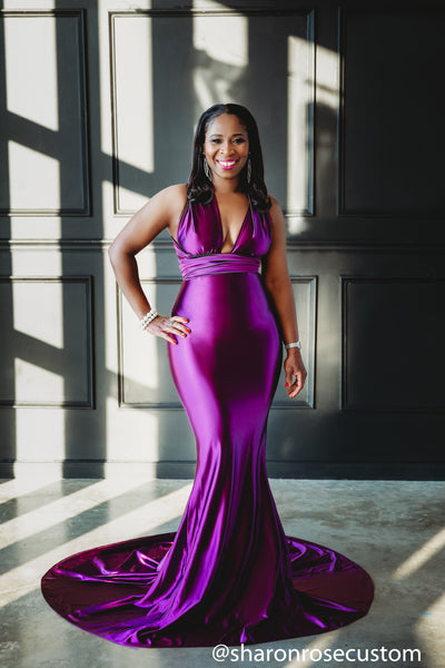 Oscar Purple Satin Engagement Gown Perfect for Photo Shoots
