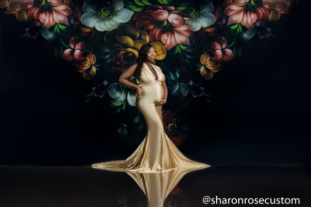 Oscar Champagne Gold Satin Maternity Gown for Photo Shoot and Baby Showers