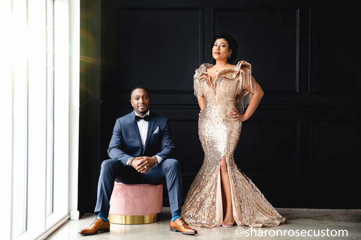 Gold Engagement Gown Perfect for Photo Shoots