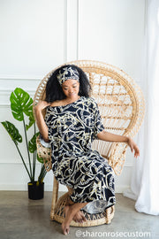The Casa Dresses - Kaftan Casual Maxi Dresses For Home With Scarf