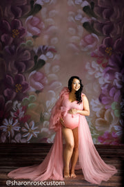 The Blush Pink Honesty Ruffled One Sleeve Robe Perfect for Photo Shoots and Baby Showers
