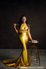 Oscar Gold Satin Engagement Gown Perfect for Photo Shoots