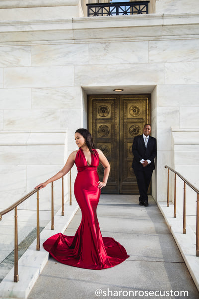 Red Satin Engagement Gown Perfect for Photo Shoots