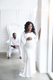 Ivory White Maternity Gown for Photo Shoot and Baby Showers - Cape Maternity Dress