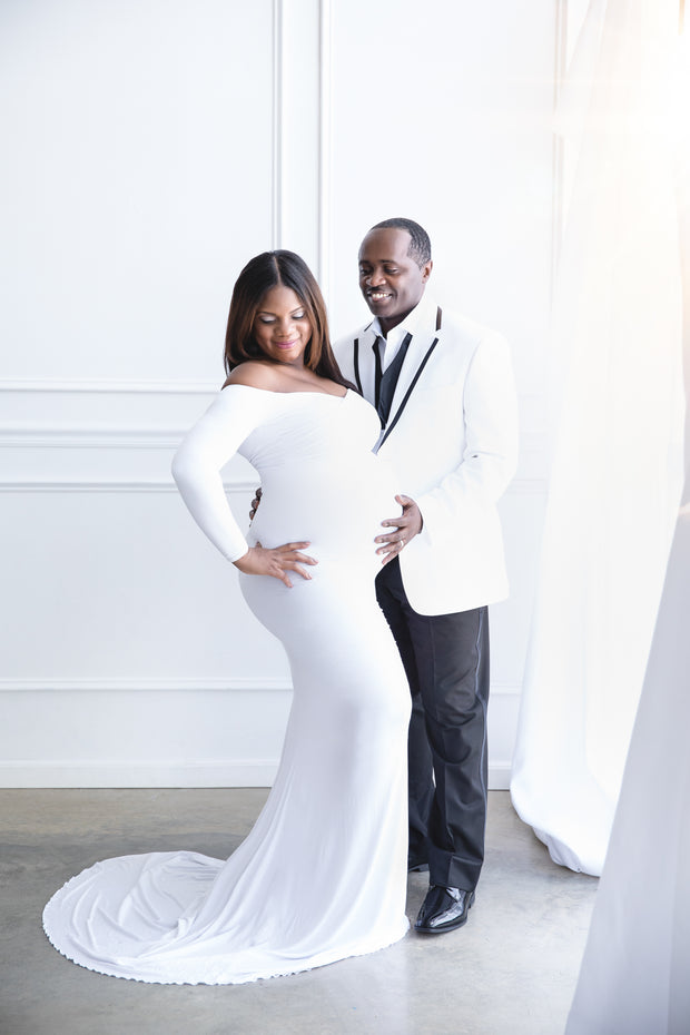 Pure White Long Sleeve Maternity Gown for Photo Shoot and Baby Showers - Jersey Maternity Dress