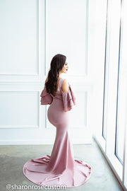 Pink Maternity Gown for Photo Shoot and Baby Showers -Sunflower Maternity Dress