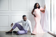 Blush Pink Maternity Gown for Photo Shoot and Baby Showers - Tulip Maternity Dress