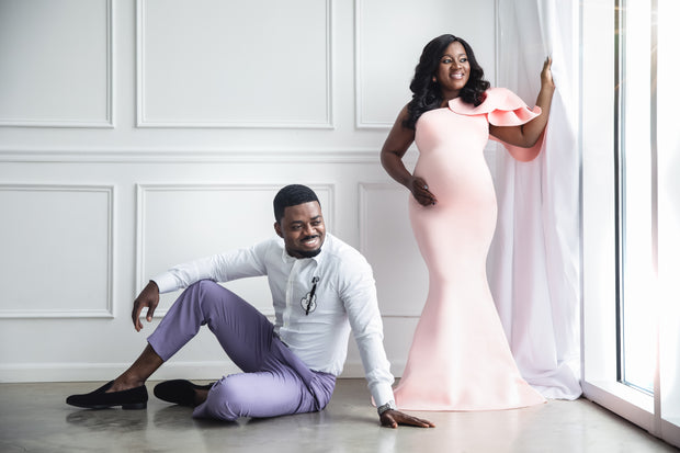 Pink Maternity Gown for Photo Shoot and Baby Showers - Tulip Maternity Dress
