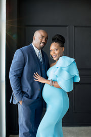 Turquoise Blue Maternity Gown for Photo Shoot and Baby Showers - Tulip Maternity Dress