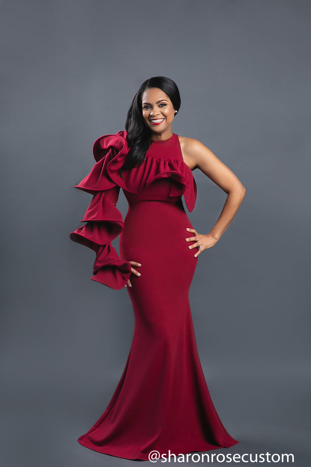 Burgundy Engagement Maxi Gown Perfect for Photo shoots and Special Occasions