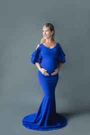 Royal Blue Ruffled Maternity Gown Maternity Gown for Photo Shoot and Baby Showers - Sunflower Sleeve Ruffle Maternity Dress